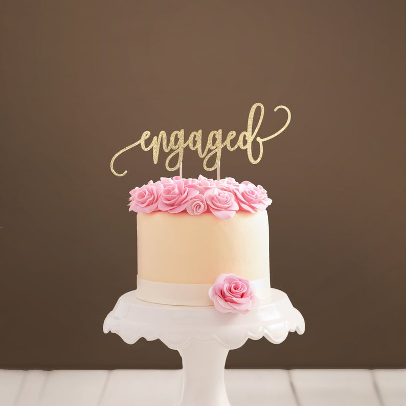 engaged wedding cake topper