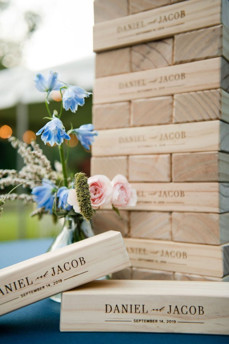 Engraved Giant Tumbling Tower Game for Wedding Kids Table