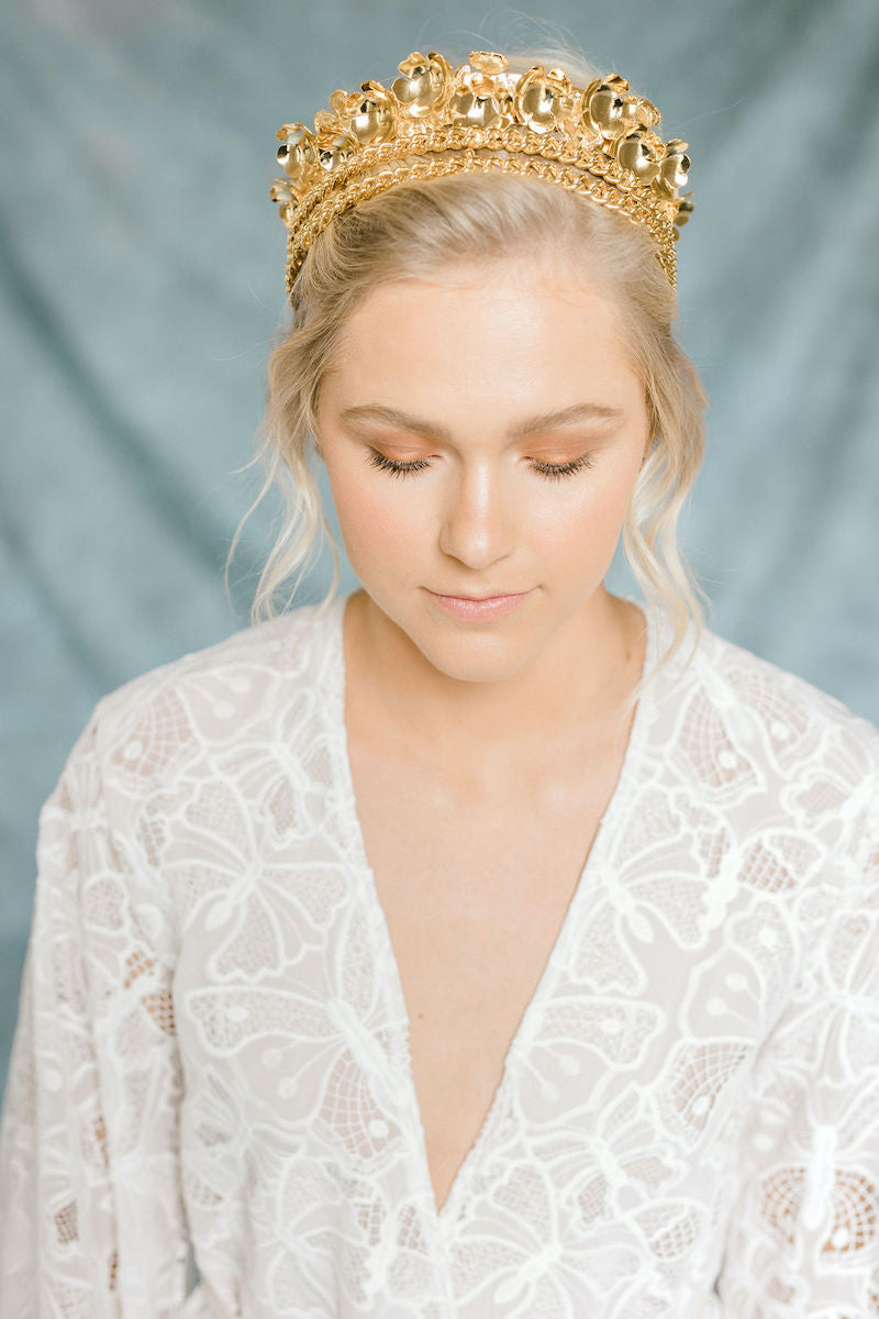 Ethereal Bridal Style with Gold Crown