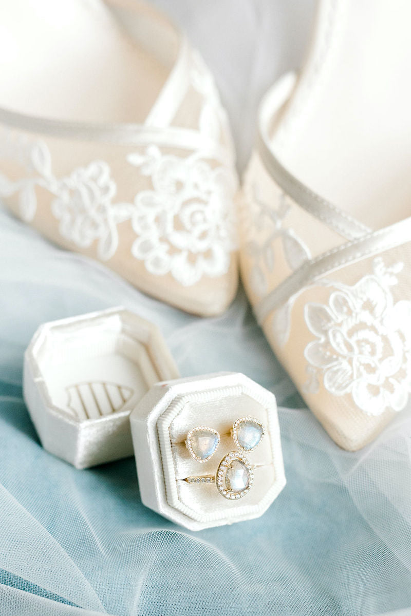 Ethereal Bridal Style Lace Bridal Heels and Wedding Rings