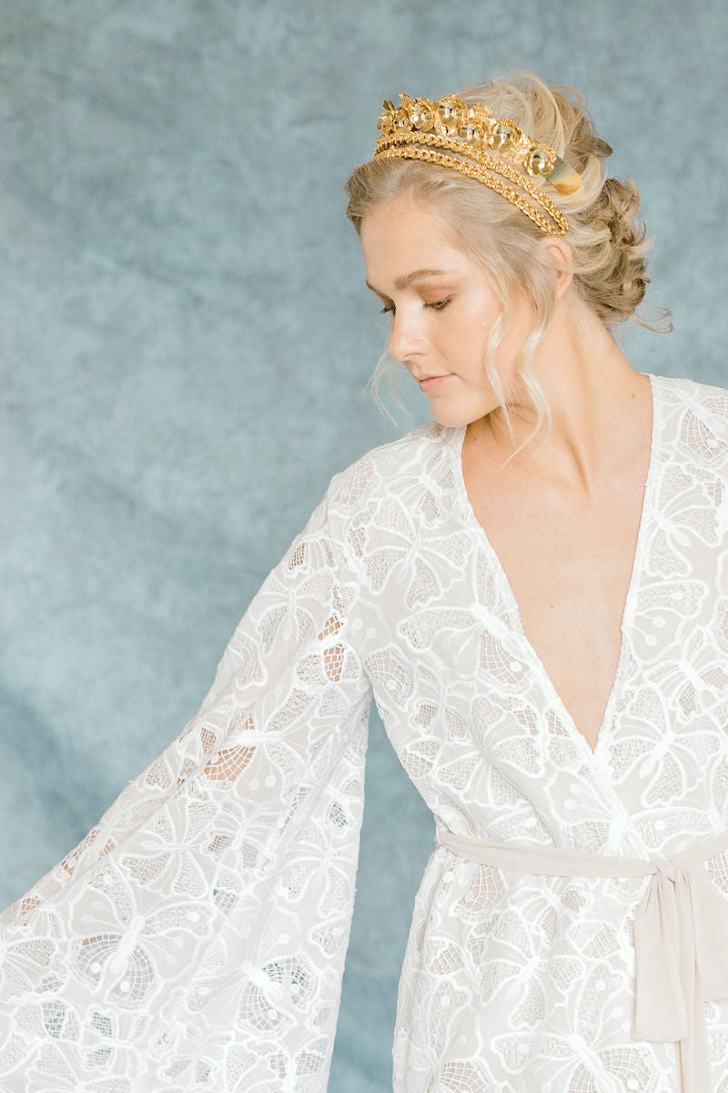 Ethereal Bride Style with Bridal Robe and Gold Crown