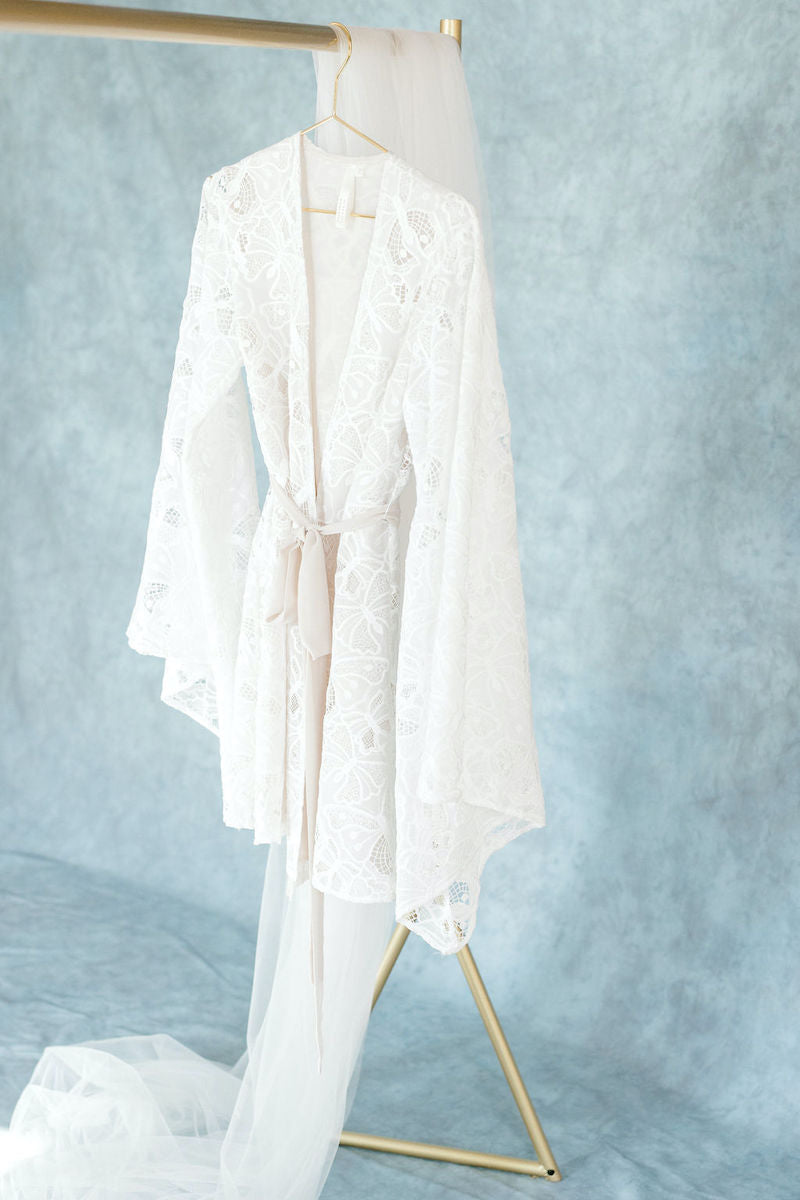 Ethereal Lace Bridal Robe