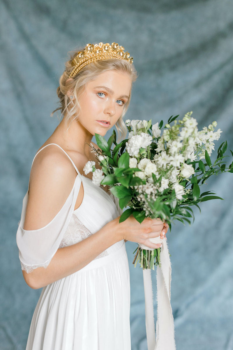 Ethereal Bridal Bouquet and Gold Crown