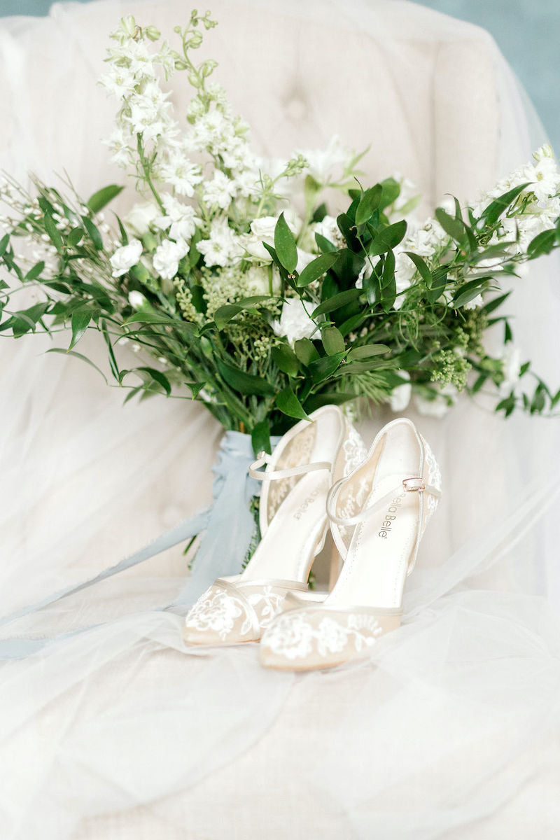 Wedding Style Inspiration Bridal Bouquet and Lace Heels