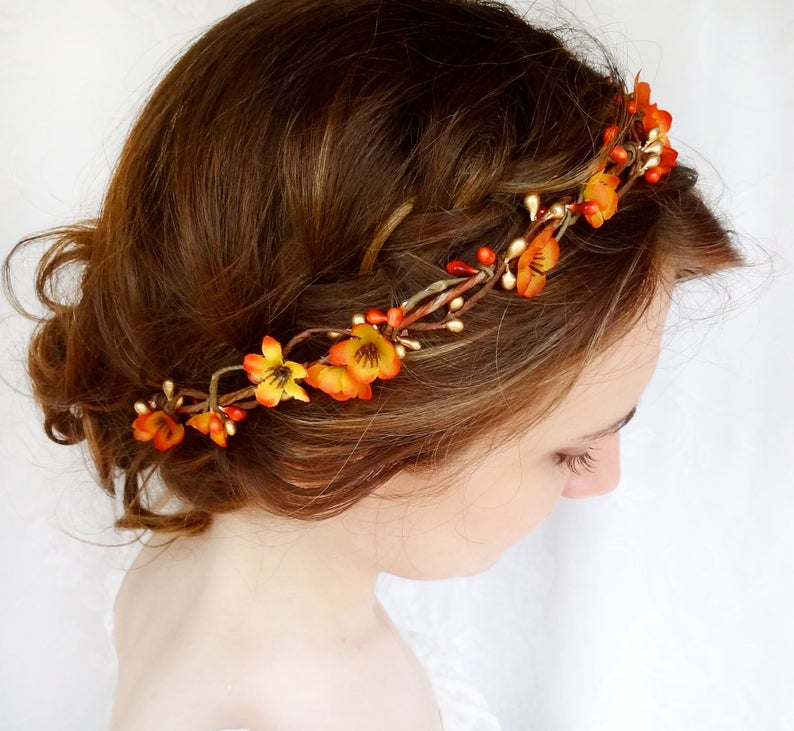 Fall Themed Bridal Flower Crown