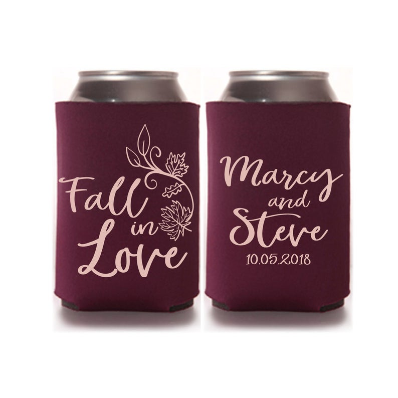 Custom Fall Wedding Beer Can Coolers