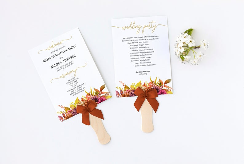 Wedding Ceremony Program Fall Leaves