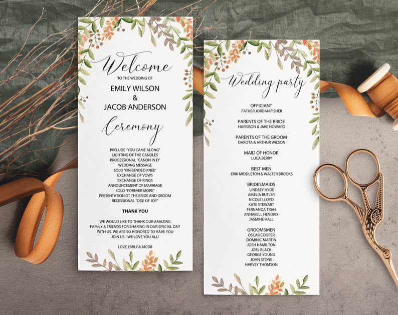 Fall Themed Wedding Ceremony Programs
