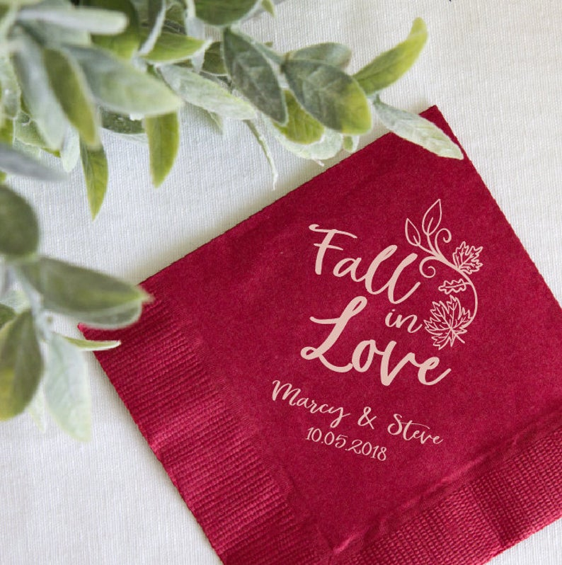 Custom Fall Wedding Cocktail Napkins
