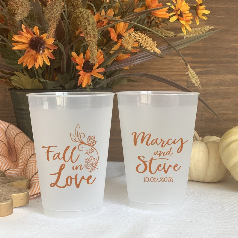 custom plastic cups for fall wedding