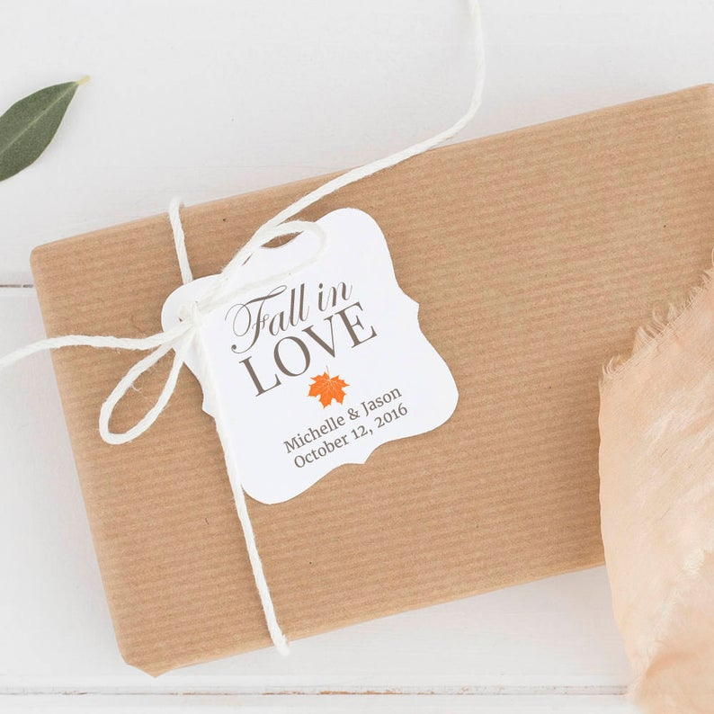 Fall In Love Wedding Favor Tags