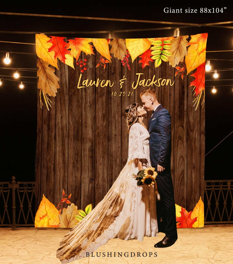 Giant Fall Themed Wedding Photo Booth Backdrop