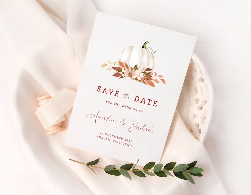 Fall Wedding Save the Date Cards