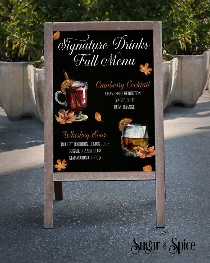 Fall Signature Drinks Sign