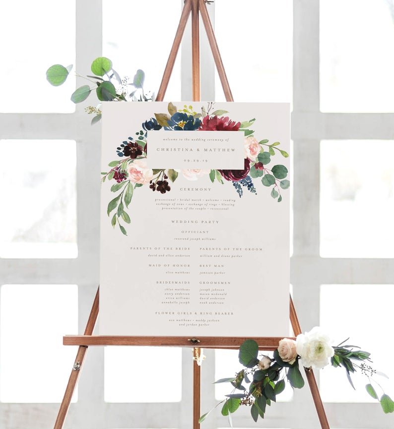 fall wedding welcome sign printable