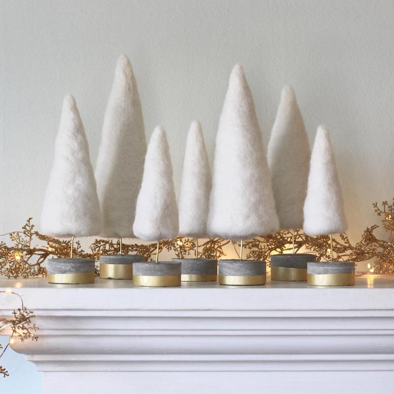 Felt White Mini Tress Winter Wedding Decor