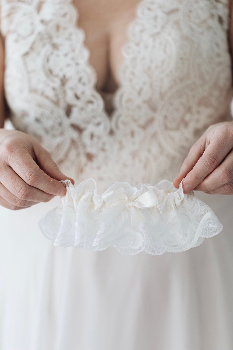 Gracious ivory lace wedding garter bridal accessory handmade by The Garter Girl