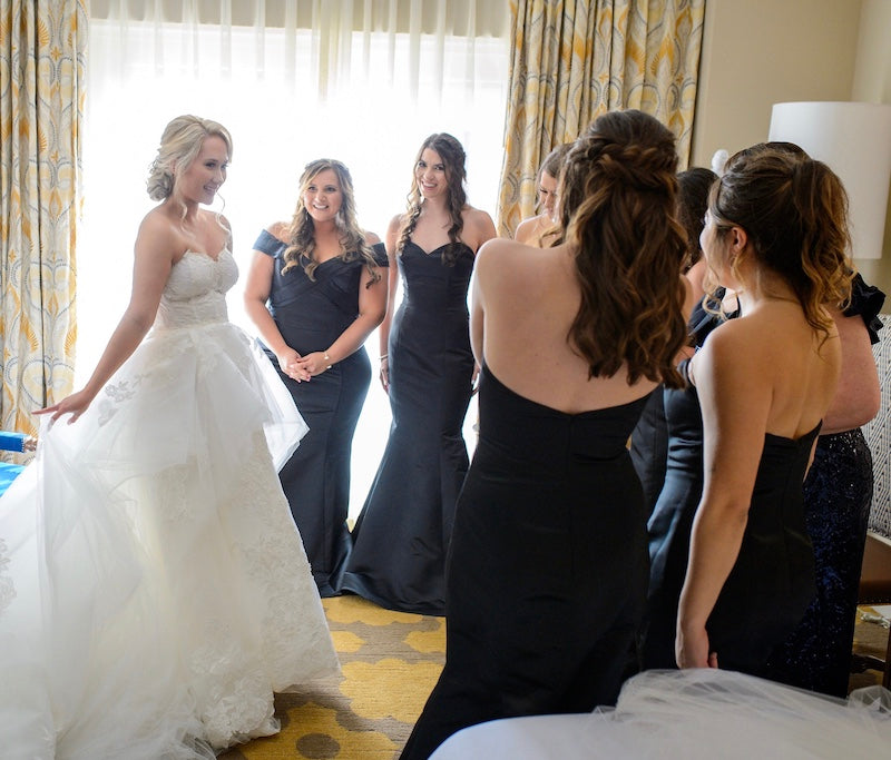First Look with Bridesmaids in Blue Bridesmaid Dresses