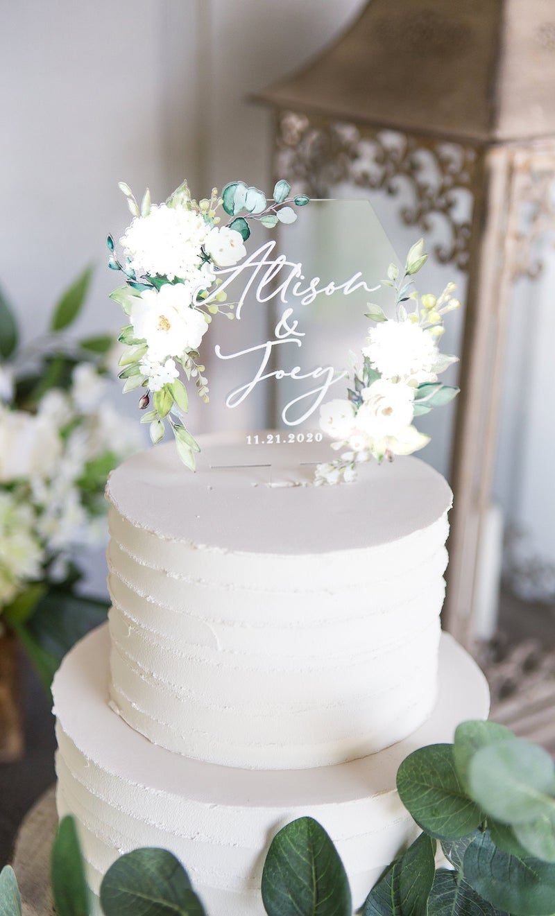 Floral Acrylic Personalized Cake Topper