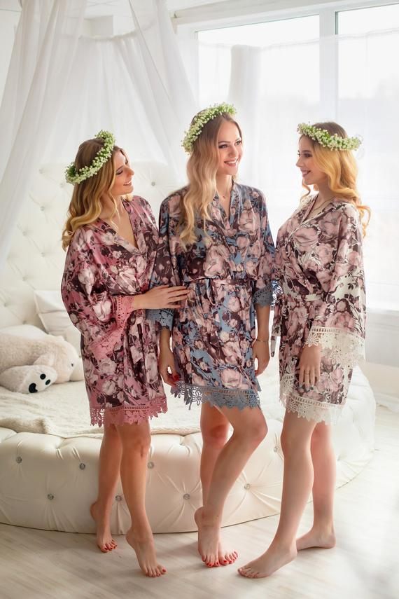 floral bride and bridesmaid wedding day robes