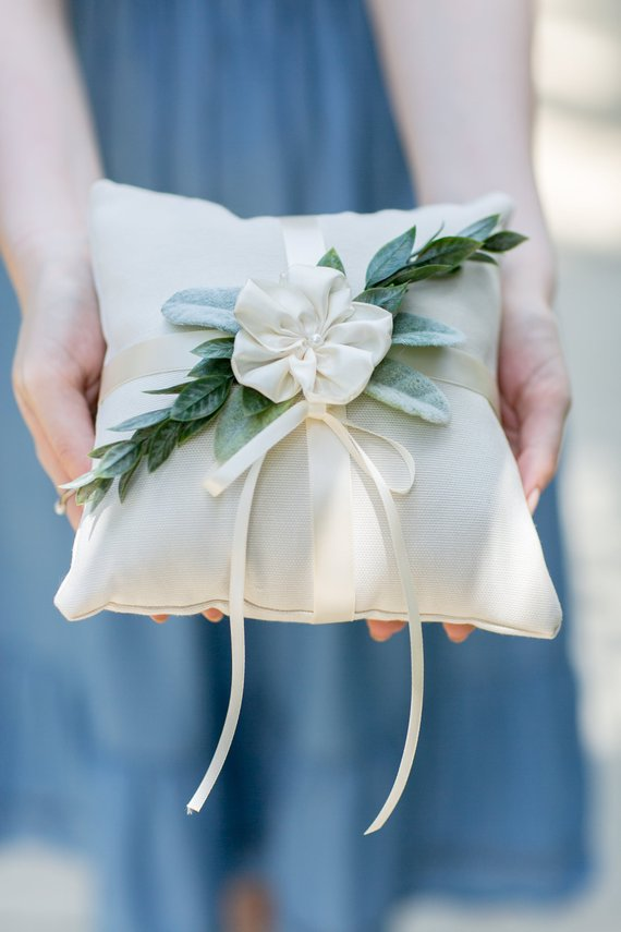 floral ivory wedding ring bearer