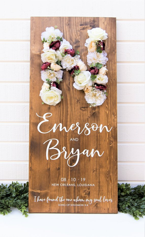 floral custom wooden welcome sign