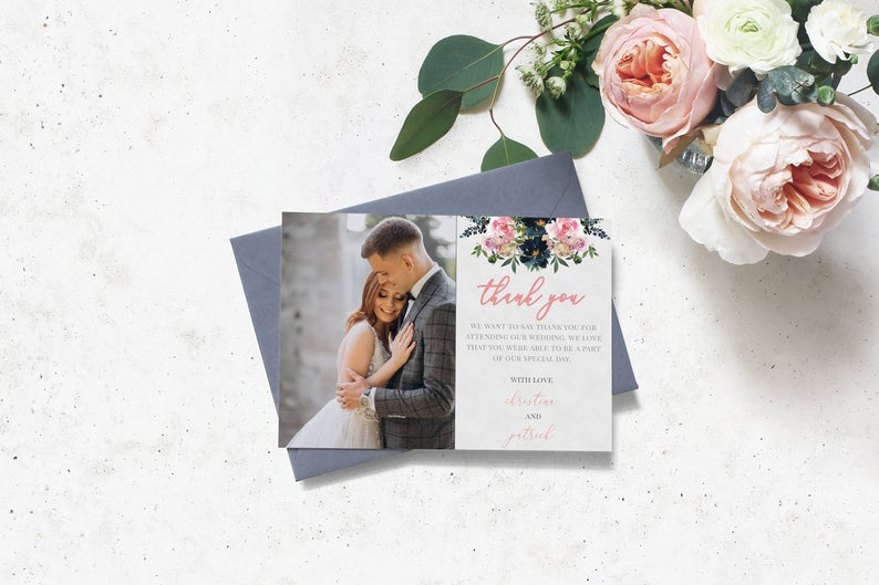 Floral Photo Wedding Thank You Card