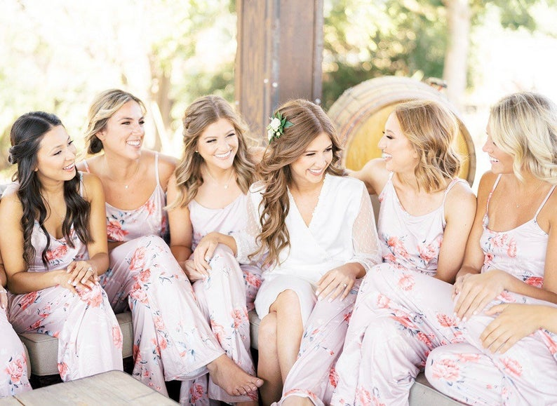 floral bridesmaids rompers