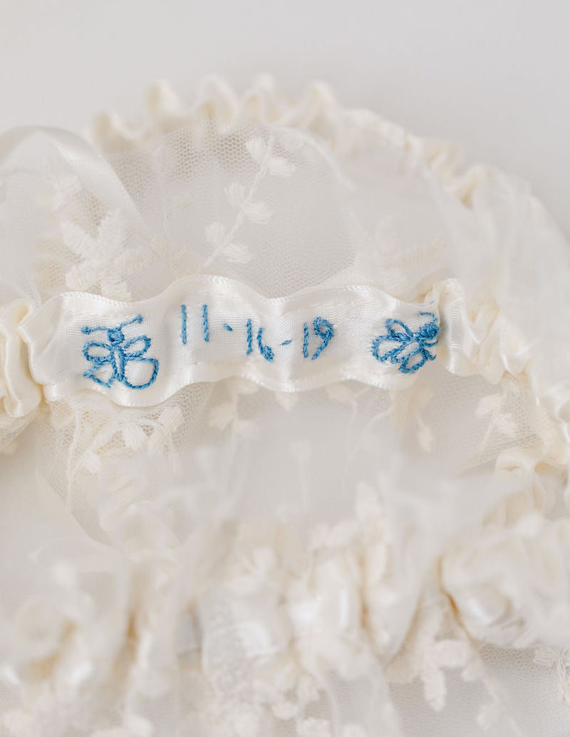 personalized wedding garter set and handkerchief with custom butterfly embroidery
