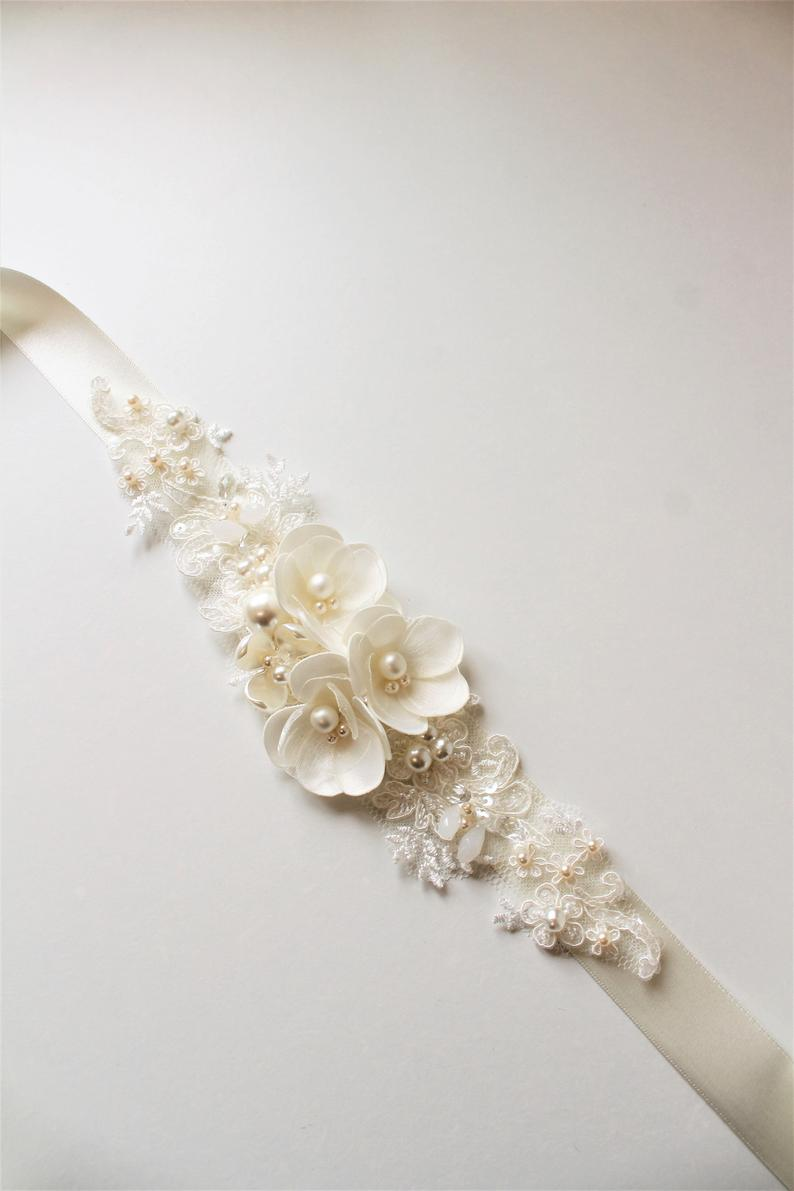 Floral and Lace Wedding Dress Sash