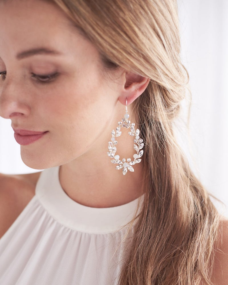 Floral Wedding Earrings Bridal Jewelry