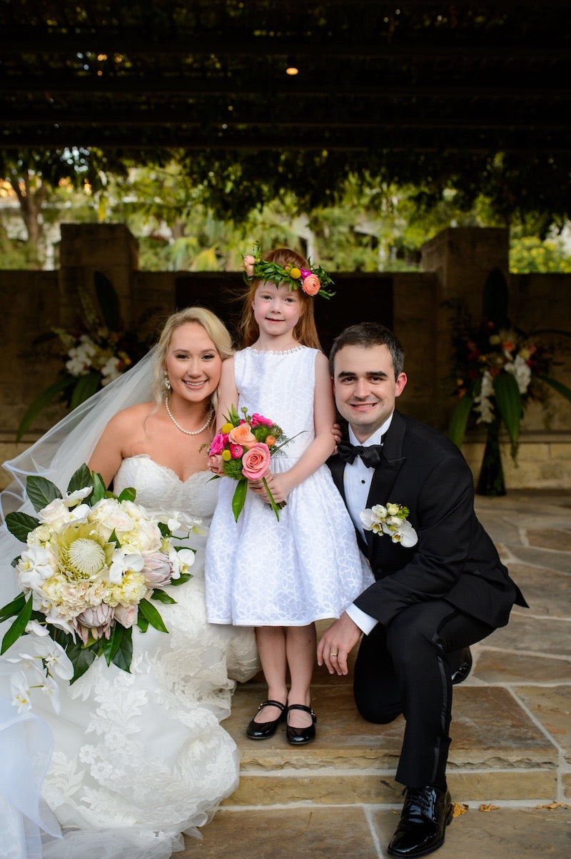 Bride and Groom and Flower Girl with Floral Crown