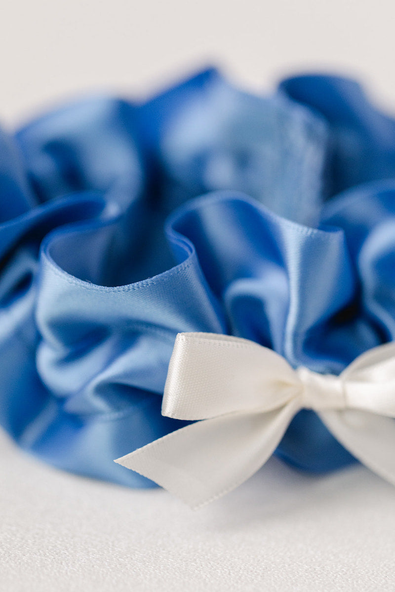 french blue wedding garter with ivory