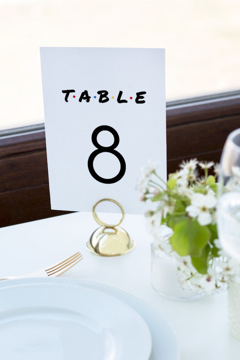 Friends Theme Wedding Table Number Sign