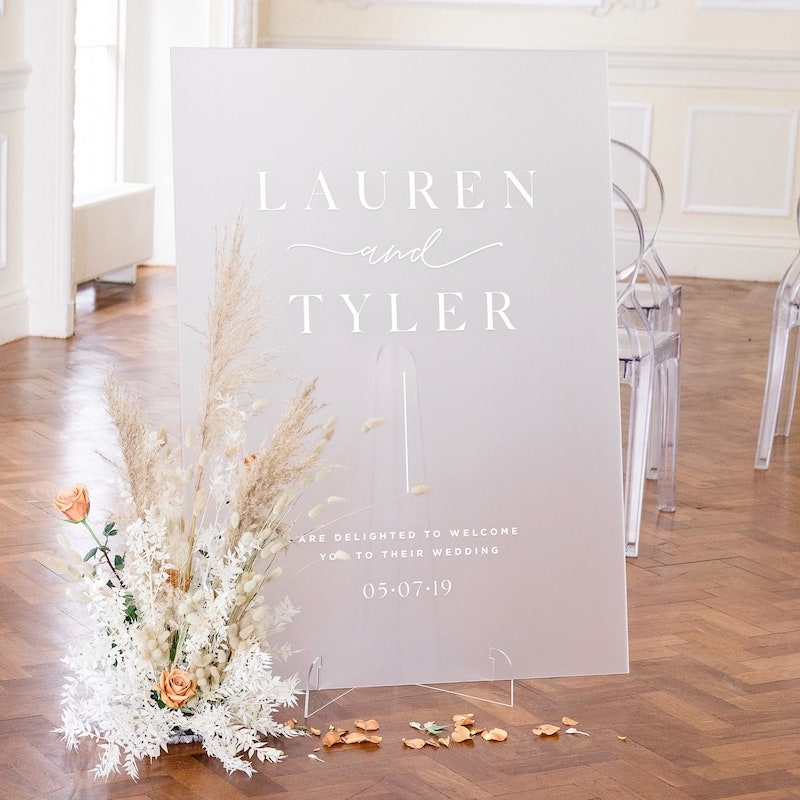 Frosted Acrylic Wedding Welcome Sign