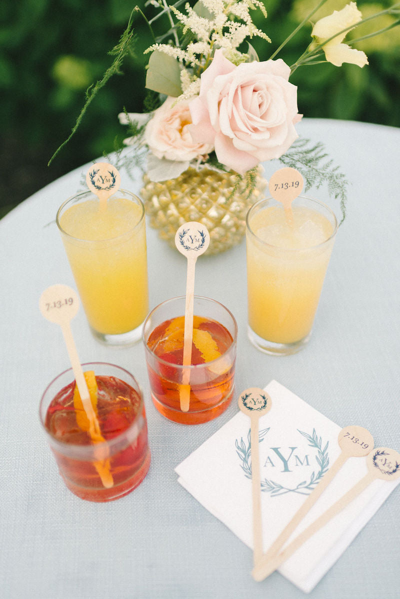 Fun Wedding Cocktails with Drink Stirrers and Custom Napkins