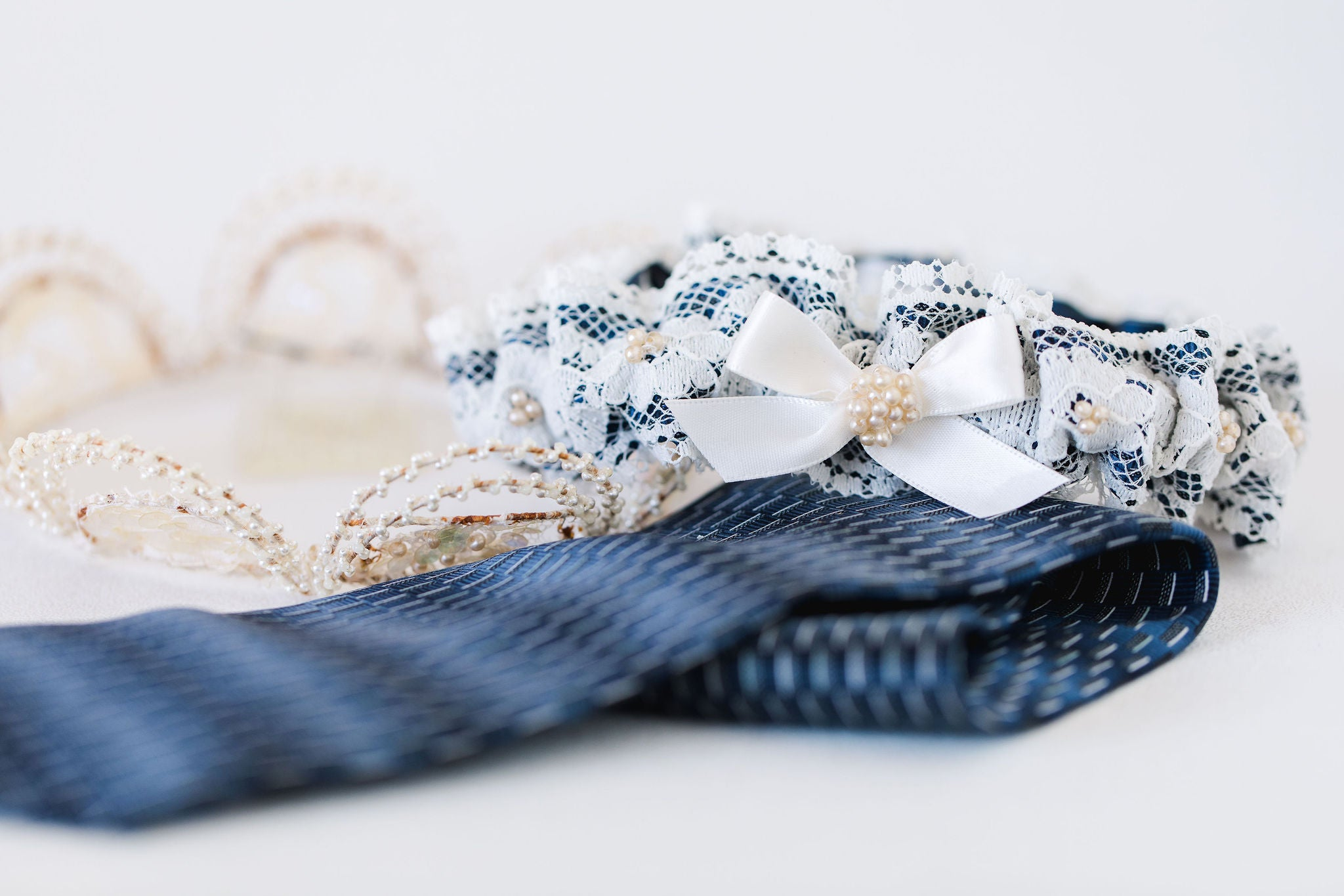 garter made from bride's dad's tie and grandmother's veil by The Garter Girl