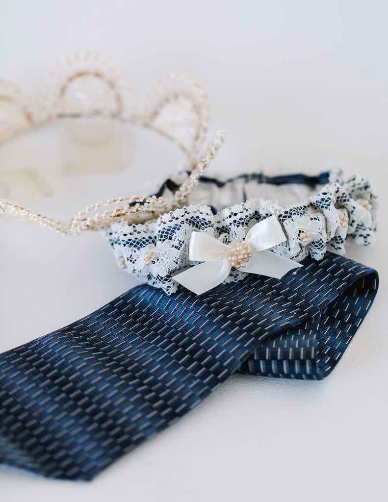 wedding garter handmade from dad's tie and grandmother's crown by The Garter Girl