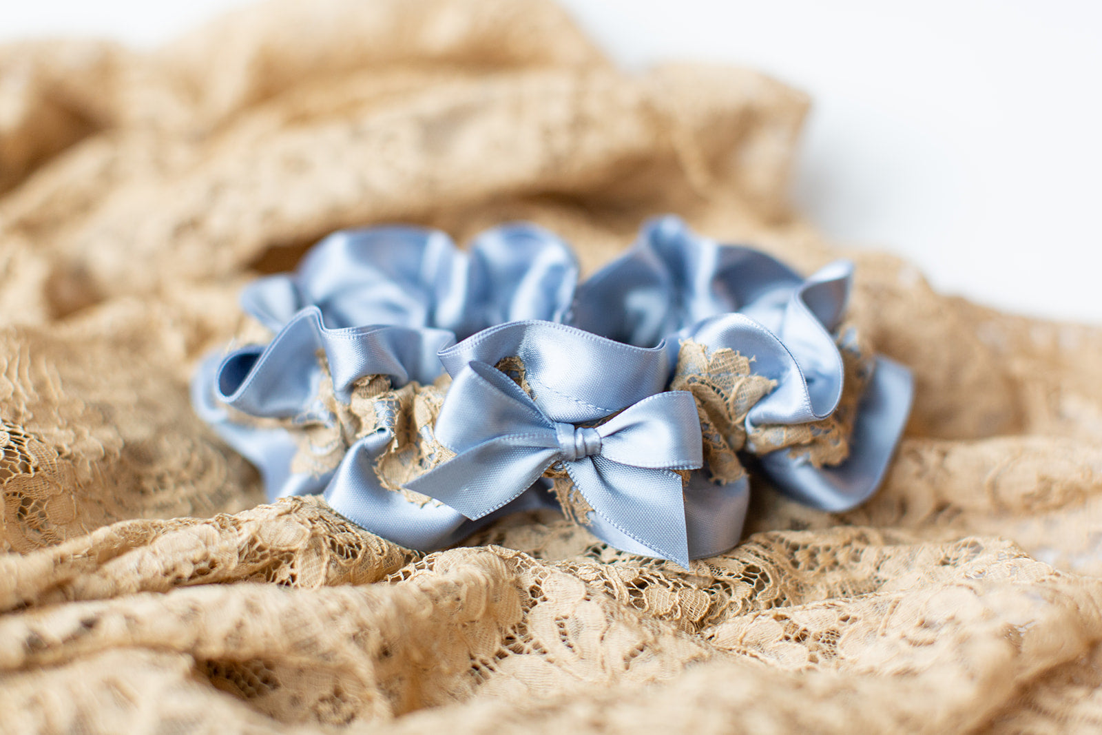 custom heirloom garter made from bride's grandmother's robe