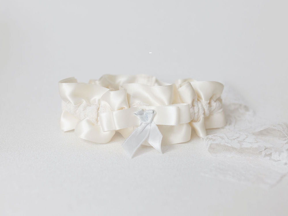 wedding garter and ring pillow handmade from bride's mother's wedding lace purse pouch - handmade heirloom bridal accessories by The Garter Girl