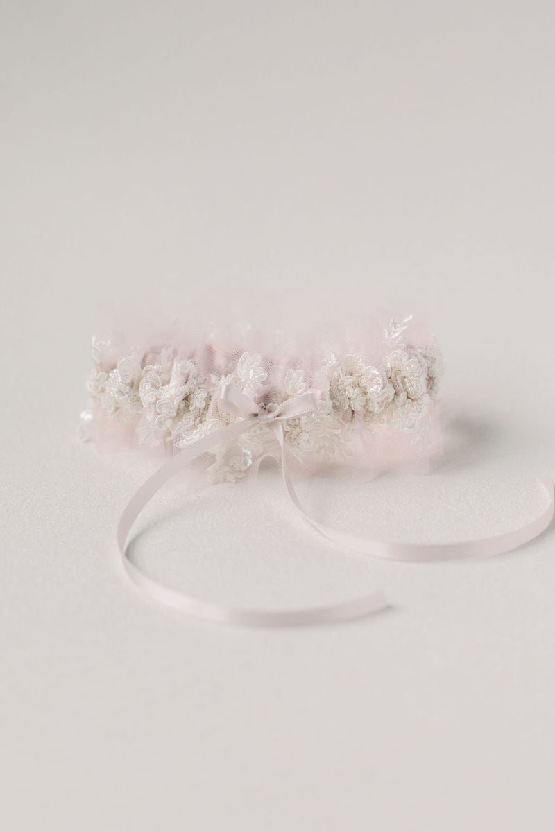 blush tulle and sparkle lace wedding garter set heirloom from The Garter Girl