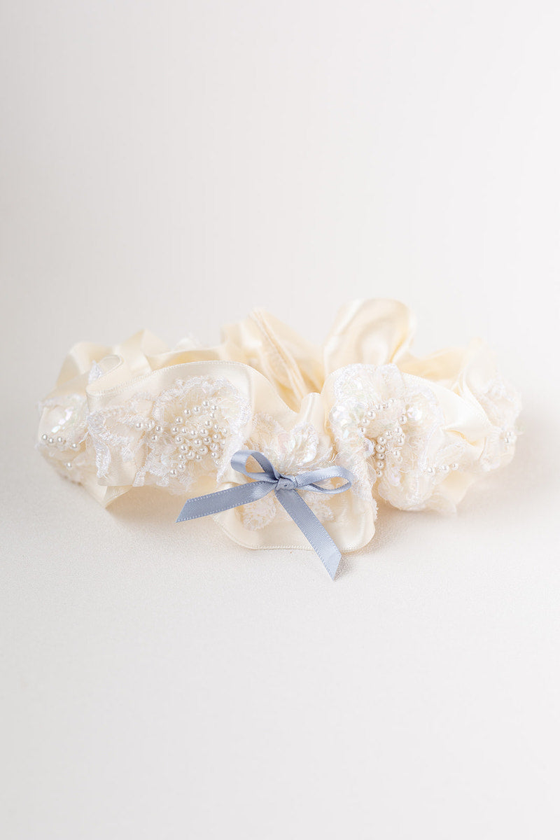 garter set from bride's mother's wedding dress sleeve
