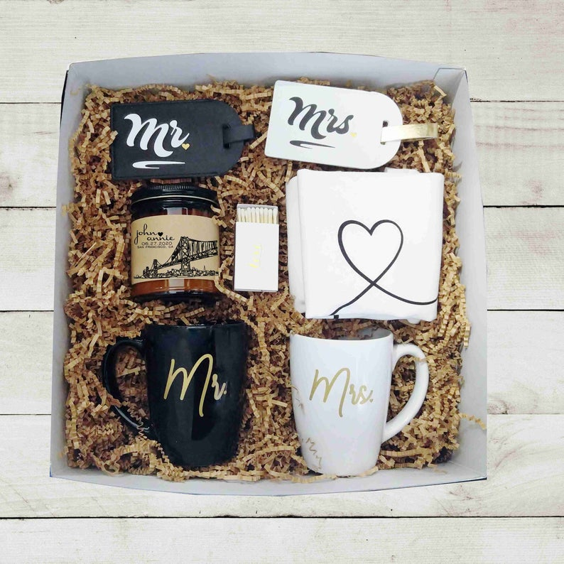 custom wedding gift box for the engaged couple