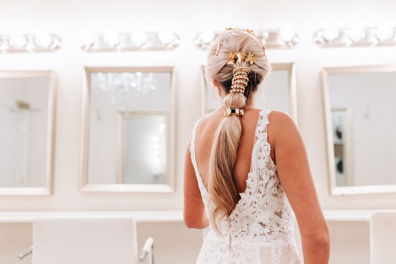 Romantic Bridal Hair Style with Gold Butterfly Clips