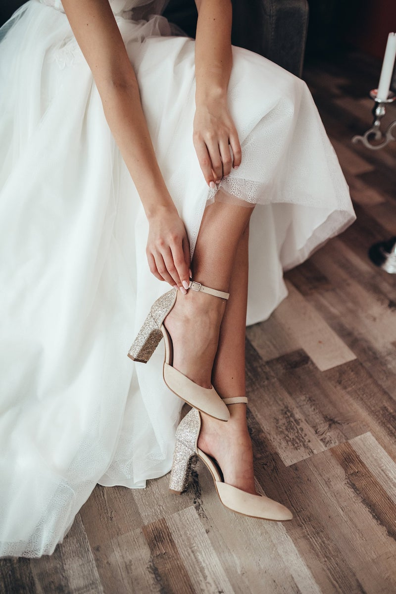 Glitter Bridal Shoes with Chunky Heel and Almond Toe