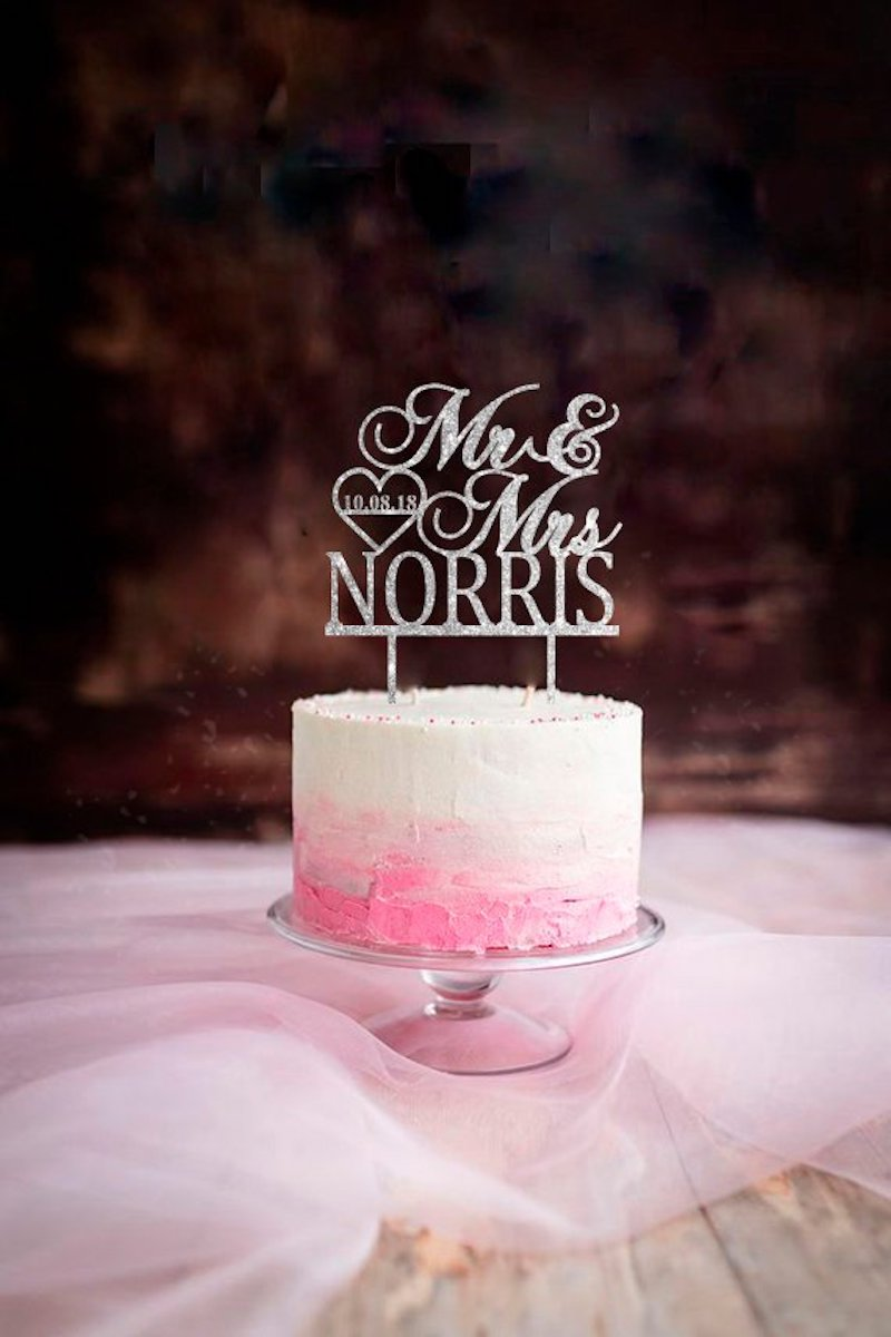 glittery cake topper idea by The Garter Girl