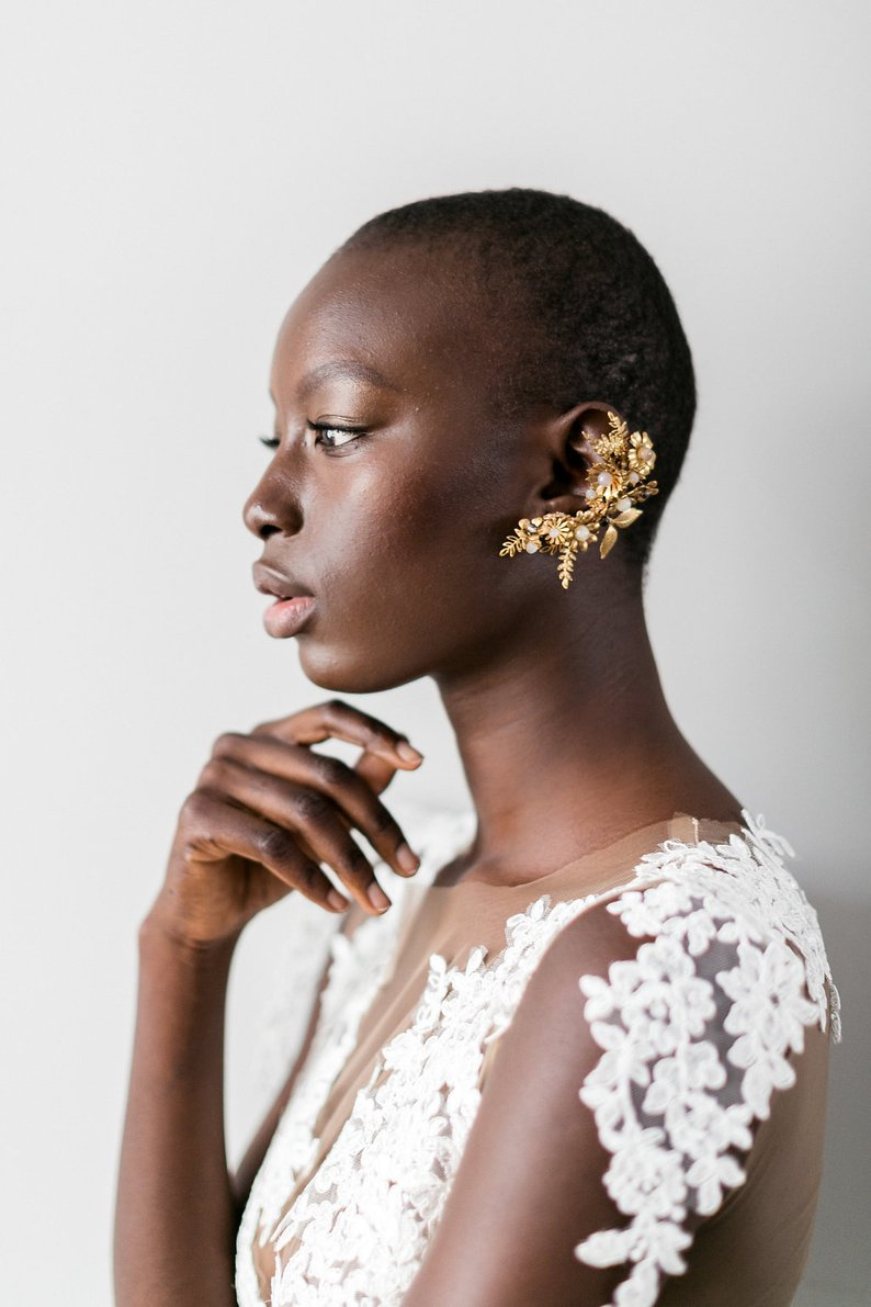 gold bespoke ear cuff bridal rehearsal dinner outfit