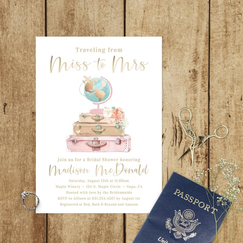 gold blush pink travel themed bridal shower invitation