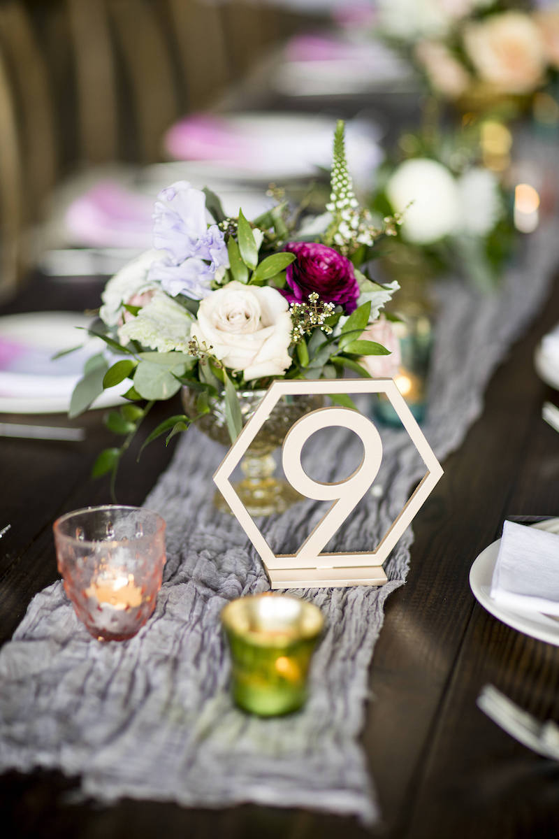 Gold Geometric Table Number Sign