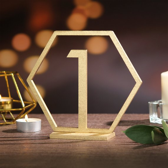 gold geometric wedding day table number sign